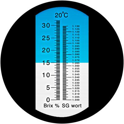 Рефрактометр шкала 0-32% BRIX, 1,000-1,120 SG